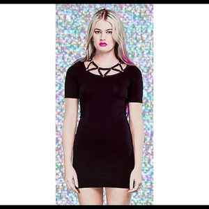 Lip Service Dresses - Lip Service Bodycon Studded Black Mini Dress
